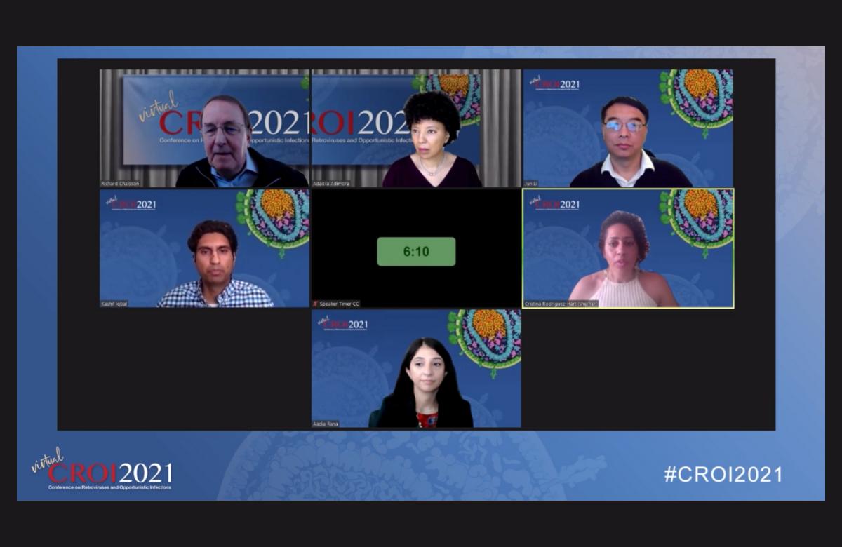 Dr Cristina Rodriguez-Hart (right) presenting at CROI 2021.