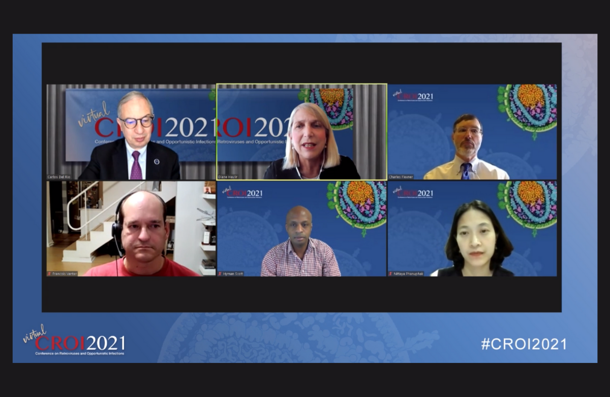 Carlos del Rio, Diane Havlir, Charles Flexner, Francois Venter, Hyman Scott, Nittaya Phanuphak (de haut en bas, de gauche à droite) la CROI 2021.