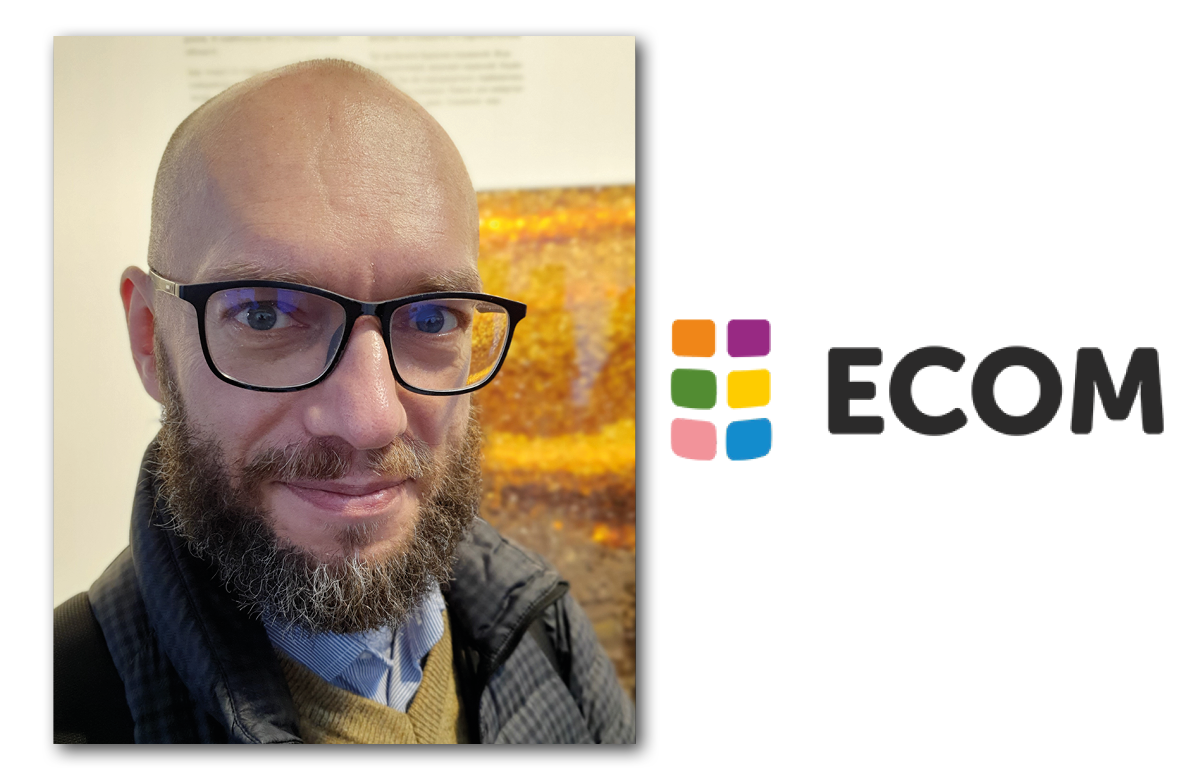 Gennady Roshchupkin and the ECOM logo